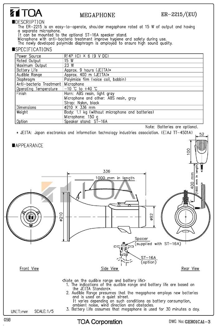 Catalog TOA ER-2215 do nhà sản xuất cung cấp