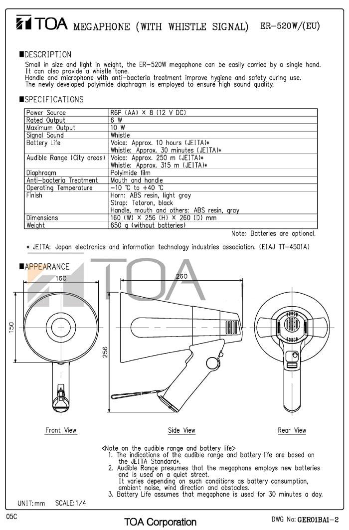 Catalog sản phẩm Loa TOA ER-520W do nhà sản xuất cung cấp