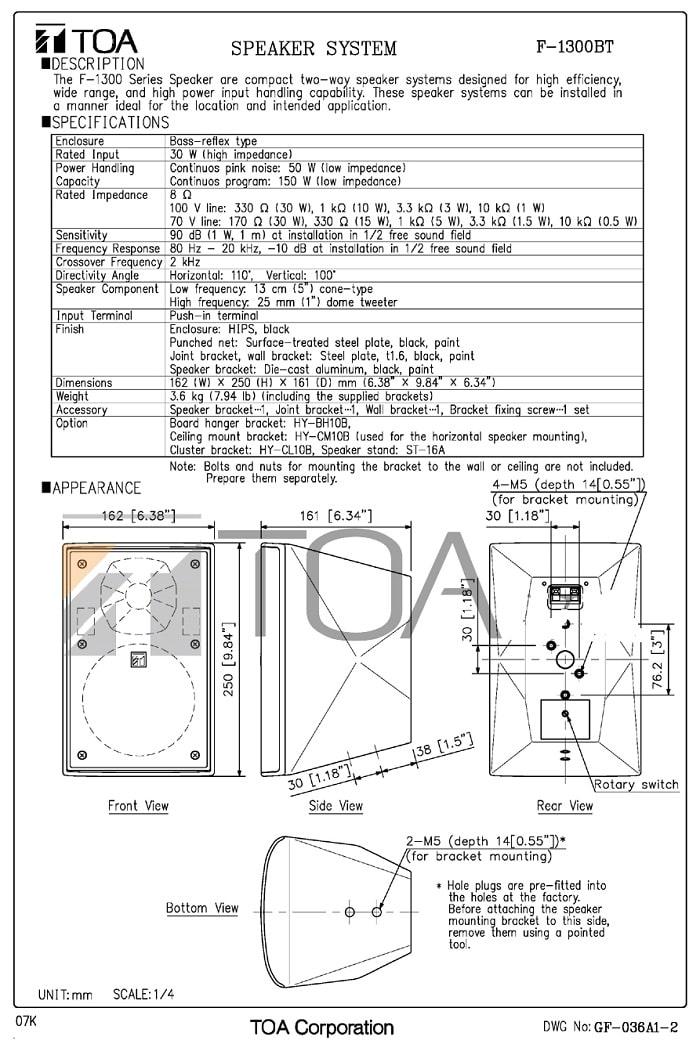 Catalog sản phẩm loa TOA F-1300WT do nhà sản xuất cung cấp