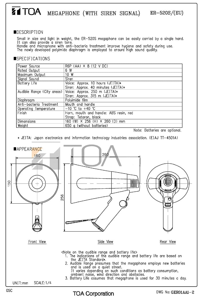 Catalog Loa TOA ER-520S do nhà sản xuất cung cấp