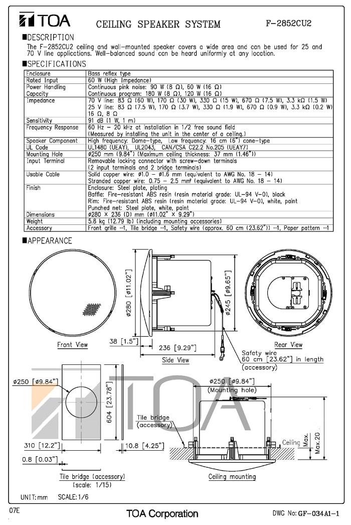 Catalog sản phẩm Loa TOA F-2852C do nhà sản xuất cung cấp
