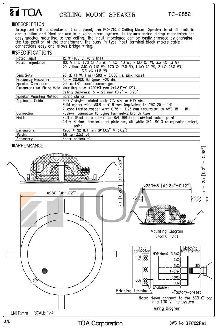 Catalog loa TOA PC-2852 do nhà sản xuất cung cấp