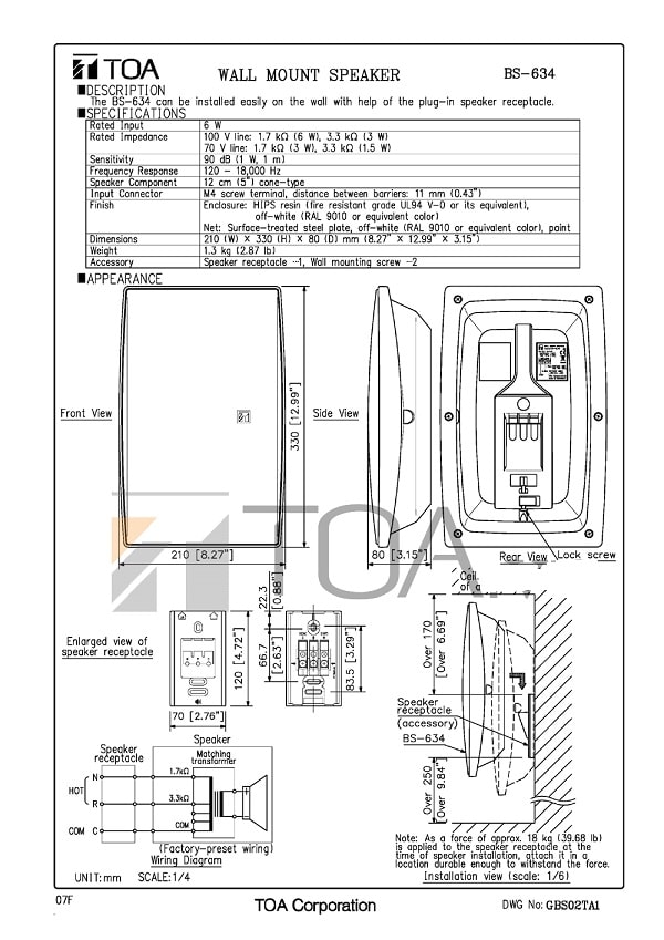 Catalog sản phẩm loa TOA BS 634 do nhà sản xuất cung cấp