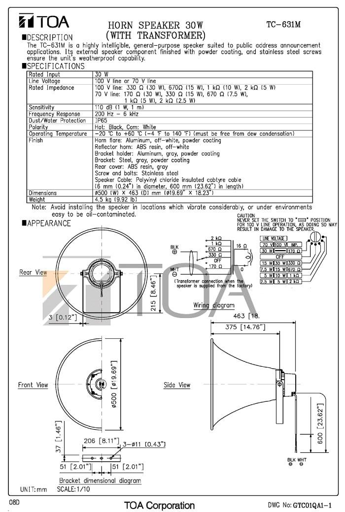 Catalog sản phẩm loa nén TOA SC 631