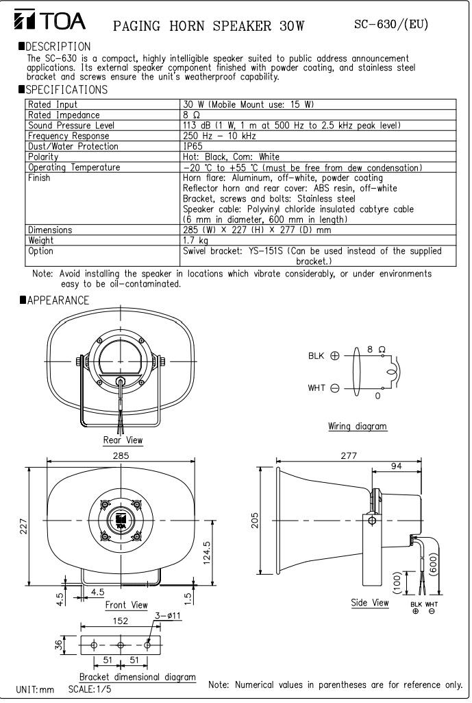 Catalog sản phẩm Loa nén TOA SC 630