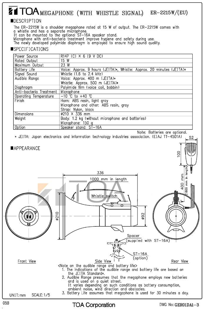 Catalog sản phẩm loa TOA ER-2215W do nhà sàn xuất cung cấp