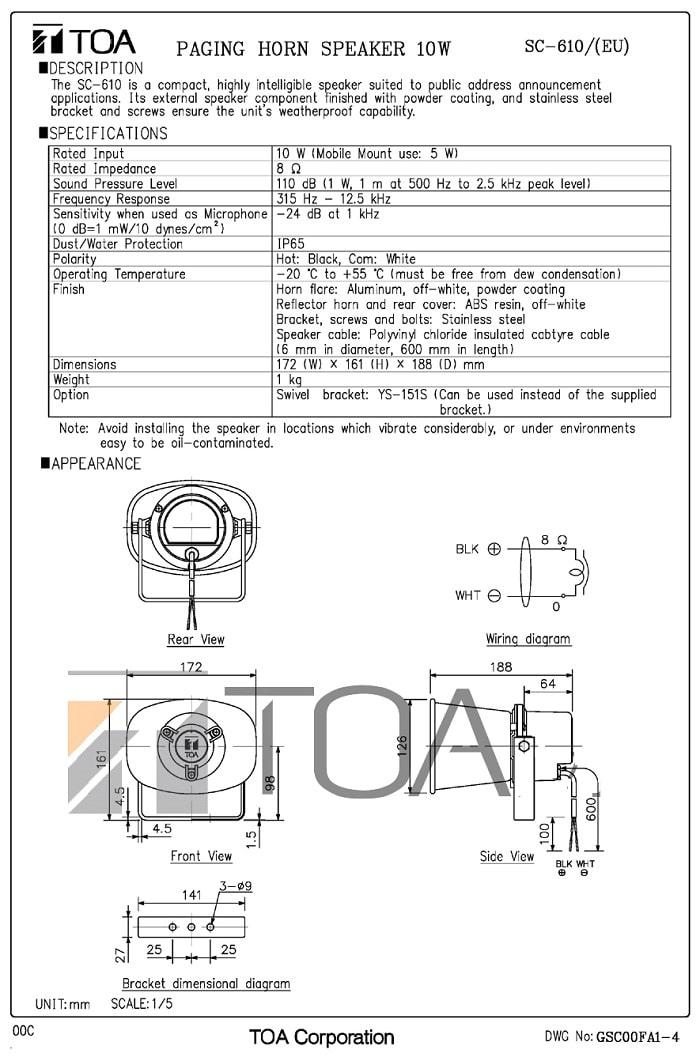 Catalog sản phẩm loa TOA SC-610 do nhà sản xuất cung cấp