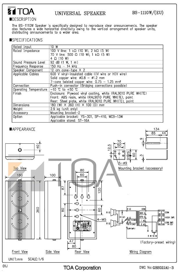 Catalog sản phẩm loa TOA BS-1110W do nhà sản xuất cung cấp