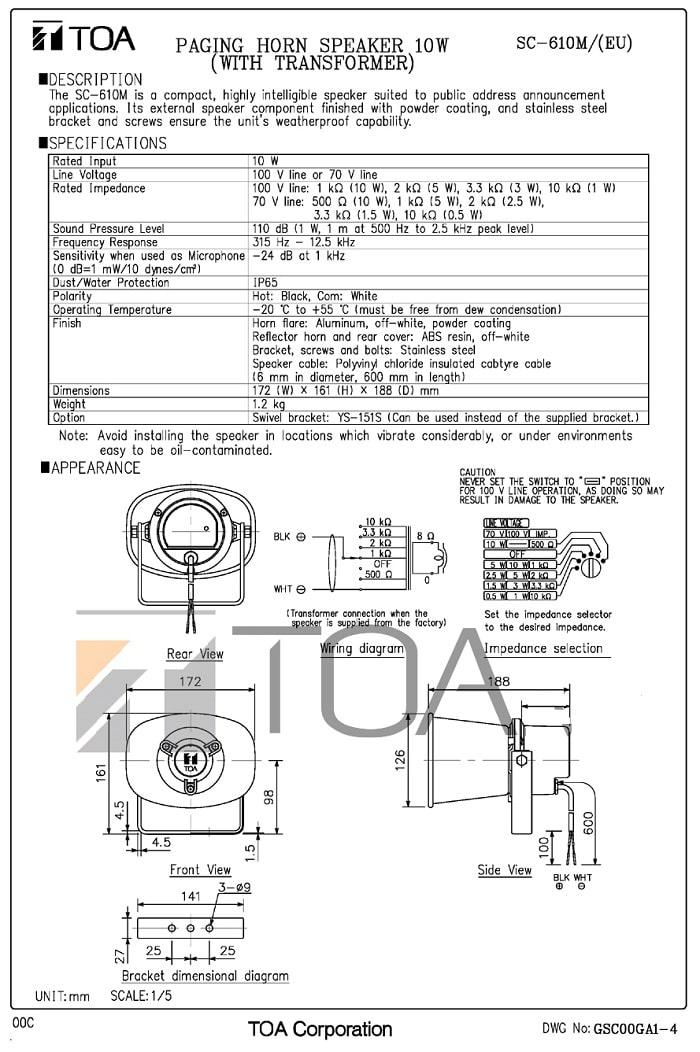 Catalog TOA SC-610M do nhà sản xuất cung cấp
