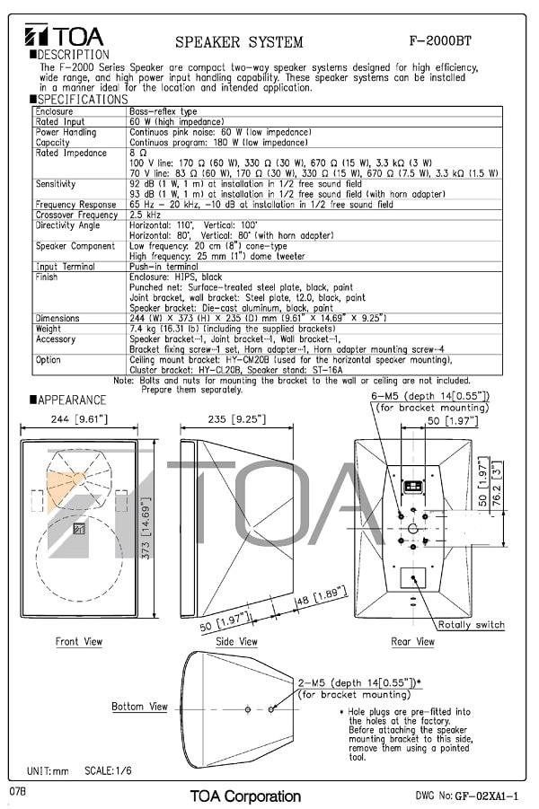 Catalog sản phẩm loa TOA F2000 W/B do nhà sản xuất cung cấp
