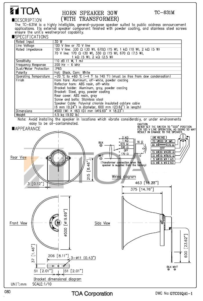 Catalog loa nén TOA TC-631M do nhà sản xuất cung cấp