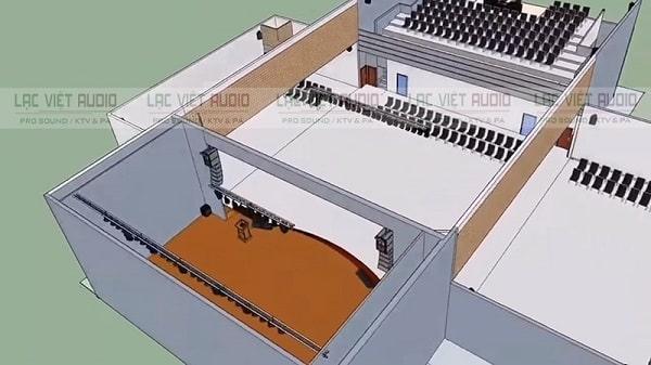 Thiết kế hệ thống âm thanh hội trường trên bản vẽ 3D