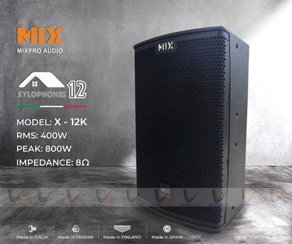 Loa MIX X-12K sở hữu thiết kế sang trọng, rất hút mắt người dùng